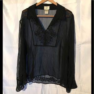Womens sheer black beaded blouse 3X